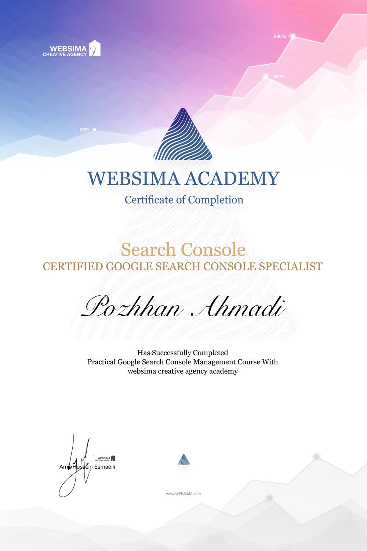 گواهی شرکت در دوره آموزش گوگل سرچ کنسول برای پژهان احمدی
