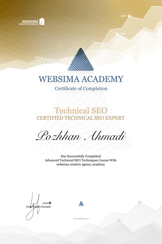 گواهی شرکت در دوره آموزش سئو تکنیکال برای پژهان احمدی