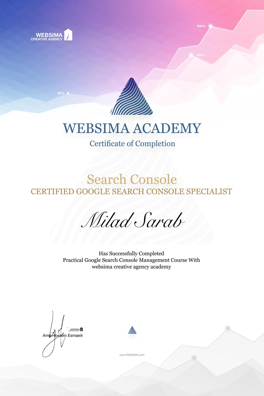 گواهی شرکت در دوره آموزش گوگل سرچ کنسول برای میلاد سراب