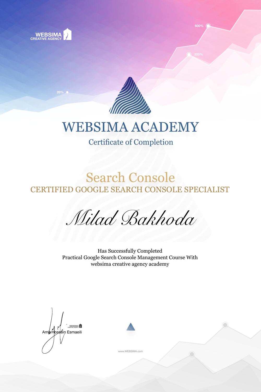 گواهی شرکت در دوره آموزش گوگل سرچ کنسول برای میلاد باخدا