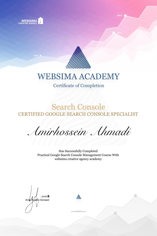 گواهی شرکت در دوره آموزش گوگل سرچ کنسول برای امیرحسین احمدی
