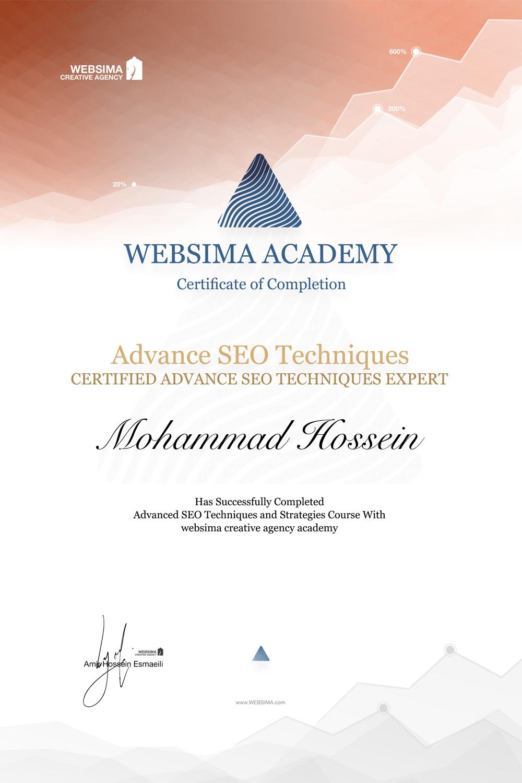 گواهی شرکت در دوره تکنیک های حرفه ای سئو برای محمد حسین وزوانیان