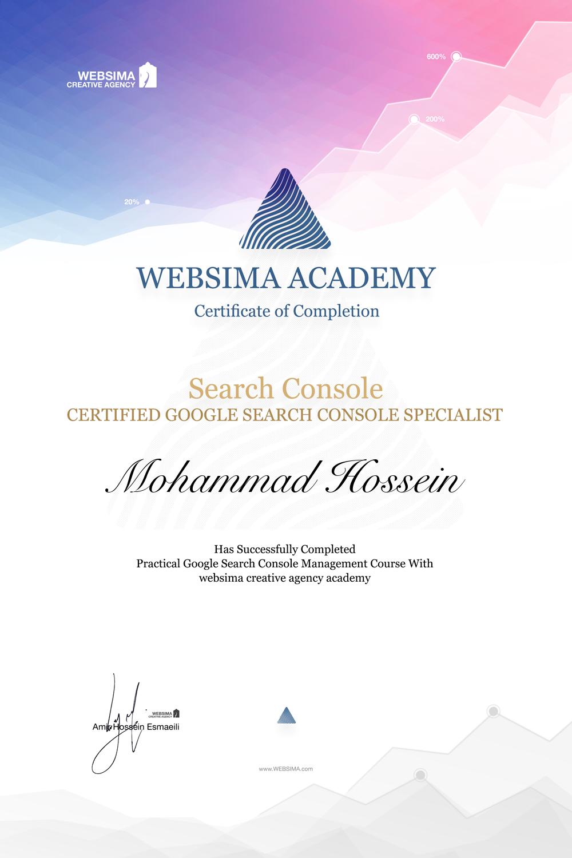 گواهی شرکت در دوره آموزش گوگل سرچ کنسول برای محمد حسین وزوانیان