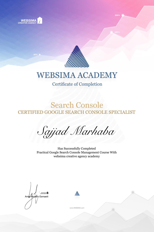 گواهی شرکت در دوره آموزش گوگل سرچ کنسول برای سجاد مرحبا