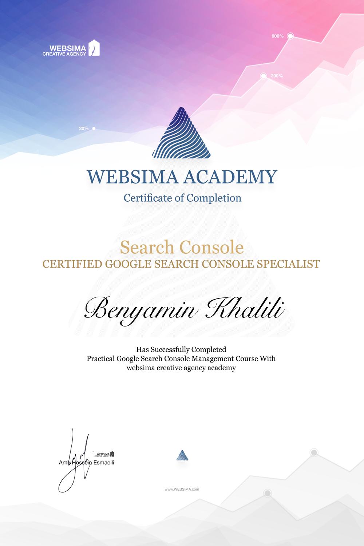 گواهی شرکت در دوره آموزش گوگل سرچ کنسول برای بنیامین خلیلی