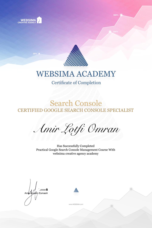 گواهی شرکت در دوره آموزش گوگل سرچ کنسول برای امیر لطفی عمران