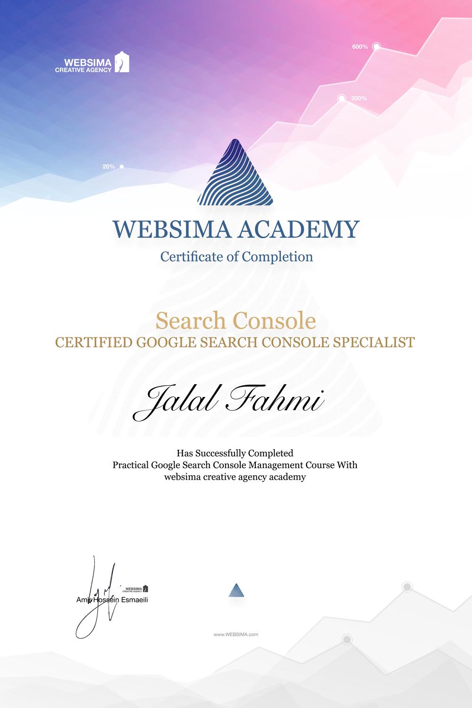 گواهی شرکت در دوره آموزش گوگل سرچ کنسول برای جلال فهمی