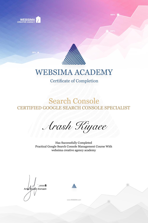 گواهی شرکت در دوره آموزش گوگل سرچ کنسول برای آرش کیایی