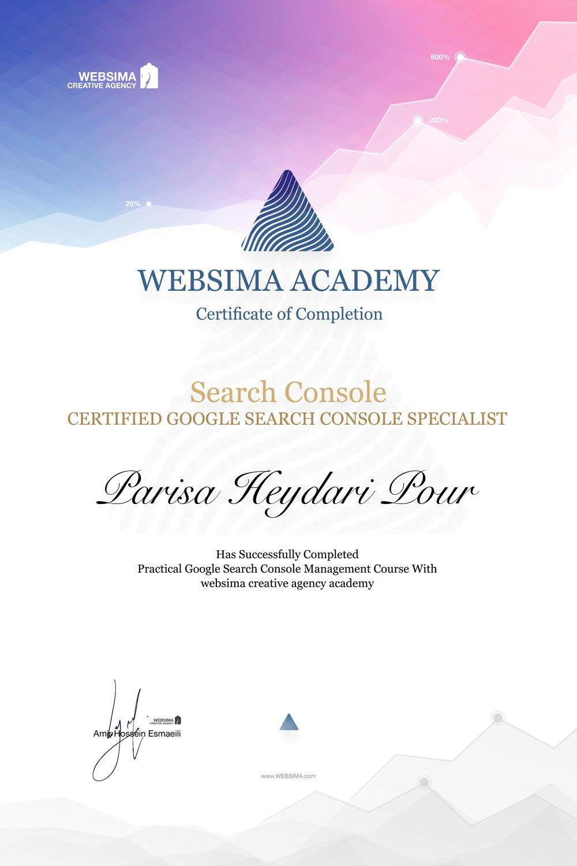 گواهی شرکت در دوره آموزش گوگل سرچ کنسول برای پریسا حیدری پور