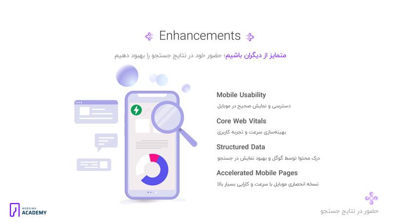 گزارشات کاربردی گوگل سرچ کنسول در بخش Enhancements