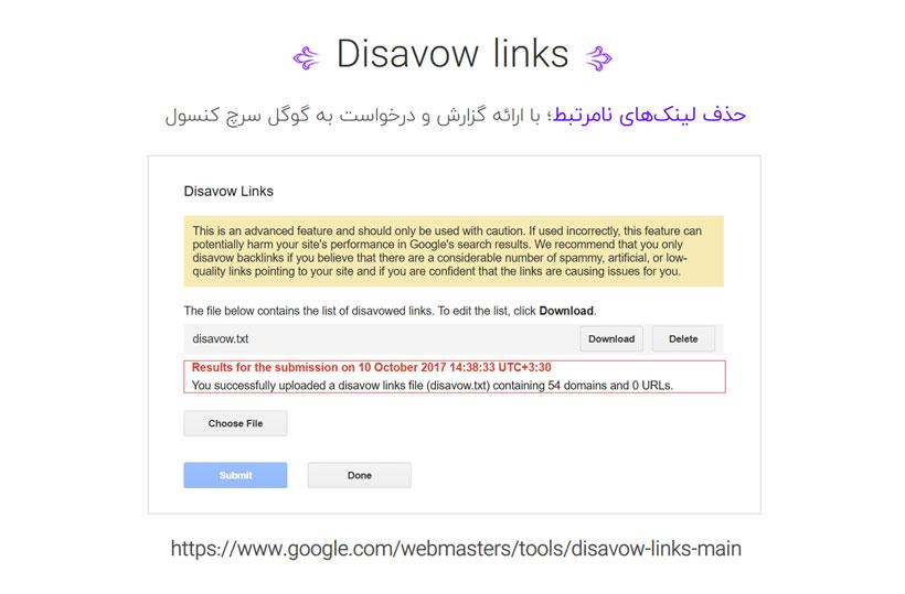 استفاده از ابزار disavow links در گوگل سرچ کنسول