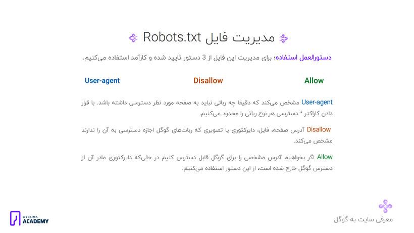 استفاده از فایل robots.txt و محدود کردن منابع و صفحات برای گوگل