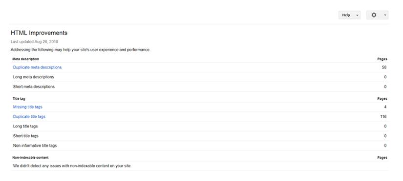 آموزش بخش html improvements در گوگل سرچ کنسول