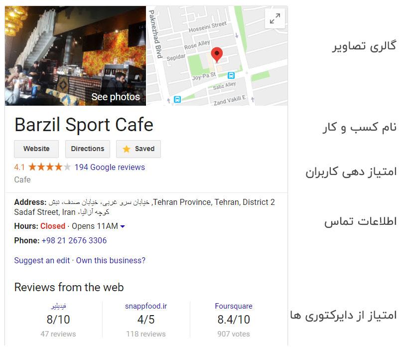 نمایش اطلاعات یک کسب و کار محلی در نقشه گوگل