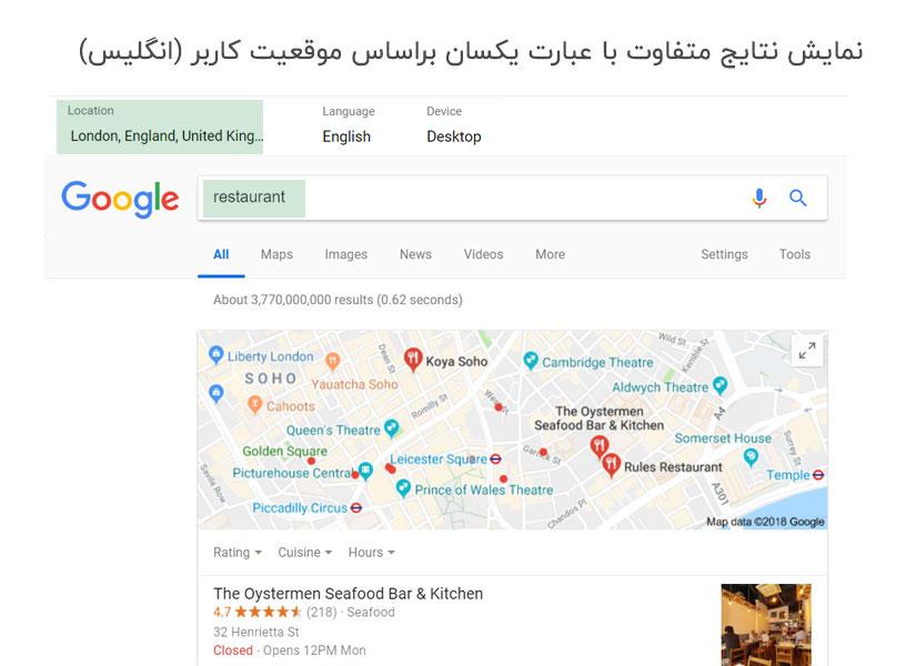 نمایش نتایج جستجو در نقشه براساس موقعیت کاربر