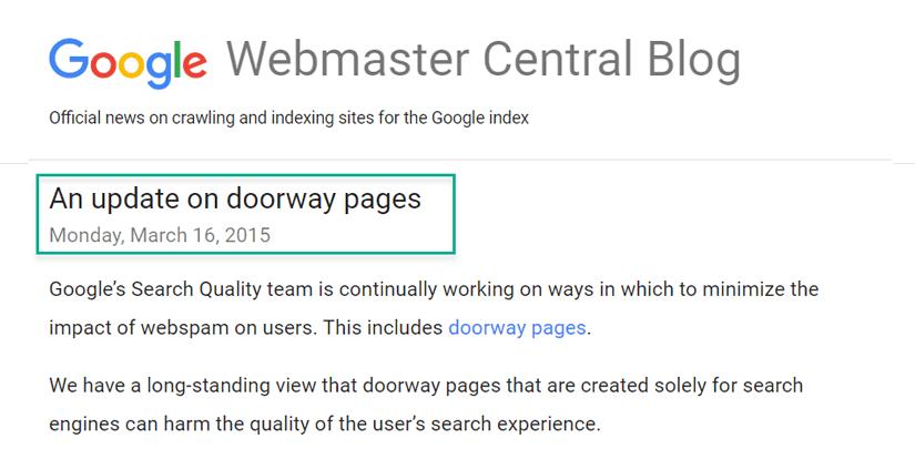 اعلام عمومی گوگل برای آپدت الگوریتم در مبارزه با doorway pages