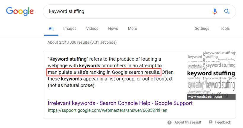 تعریف keyword stuffing از نظر گوگل