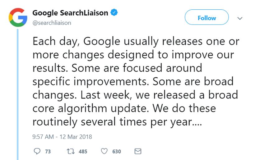 اعلام رسمی گوگل در مورد آپدیت هسته الگوریتم در مارس 2019